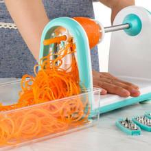 Multifunzionale Efficienza Verdura Spiralizer Pieghevole Veggie di Pasta e di Spaghetti Patate Verdura Taglierina A Spirale Zucchini Affettatrice