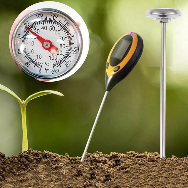 1 pc Stainless Steel Soil Thermometer Stem Read Dial Display 0-100 Degrees Celsius Range For Ground Compost Garden Supplies
