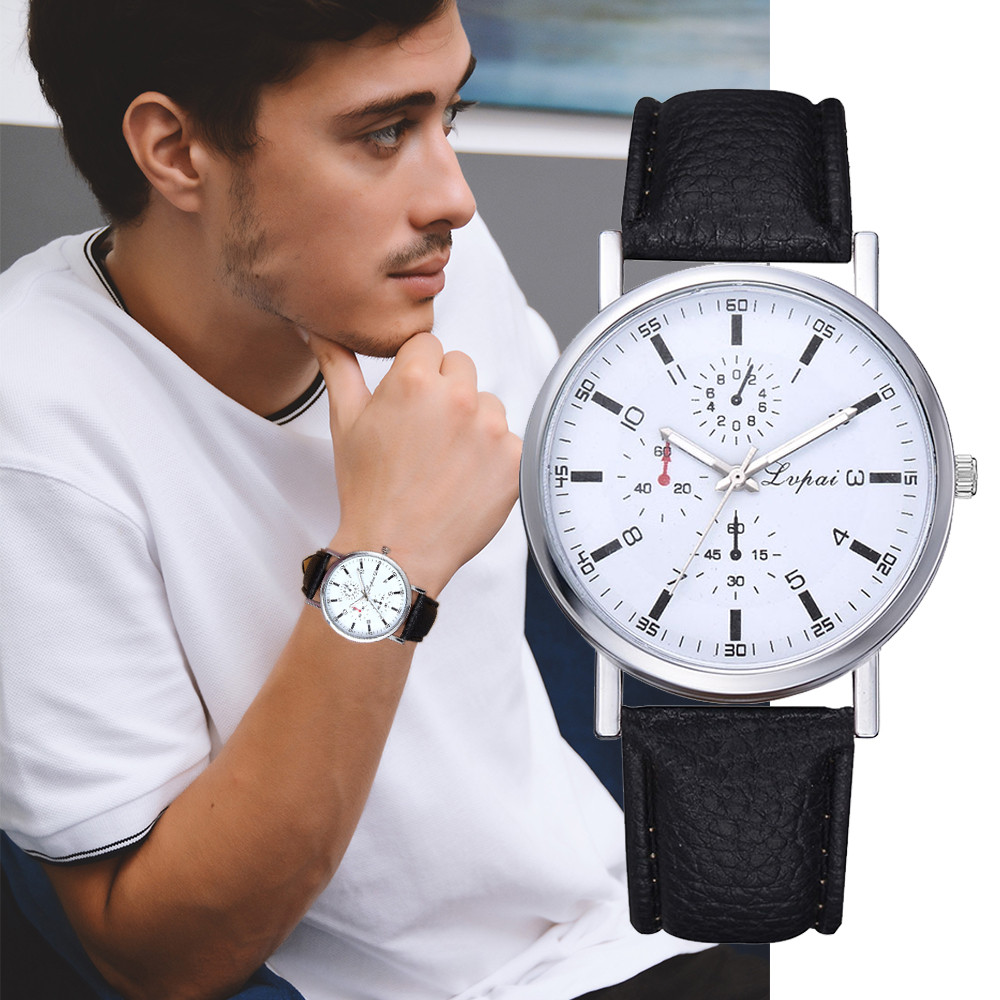 Fashion Men Watch Top Brand Luxury Watch PU Leather Band Analog Quartz Wrist Watch Student Clock Erkek Kol Saati Reloj Hombre %