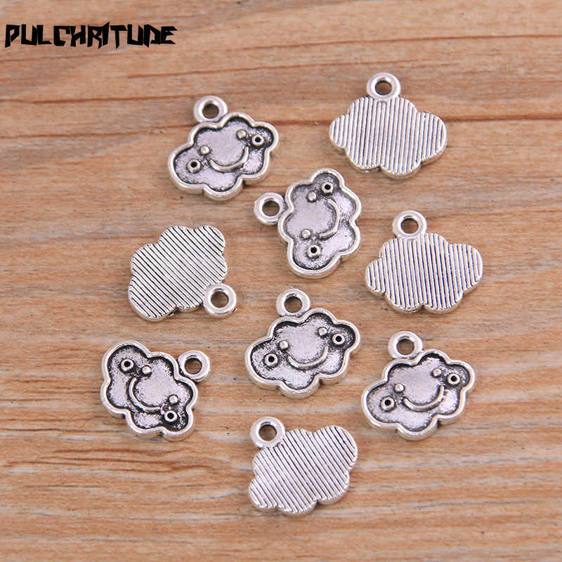 PULCHRITUDE 20PCS 12*14mm New Product Two Color Cloud Smiley Face Charms Pendant Jewelry Metal Alloy Jewelry Marking