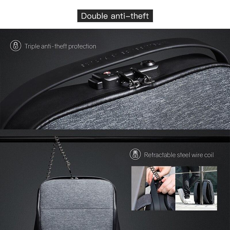 Рюкзак для мужчин модный рюкзак для ноутбука Оксфорд зарядка через USB Противоугонный водонепроницаемый дорожный рюкзак для мужчин и женщин... - 6