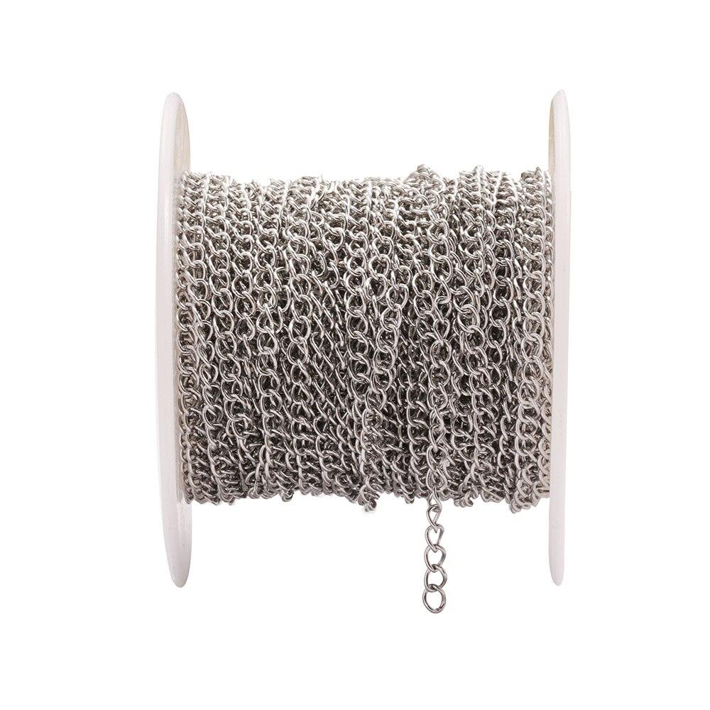 10 м/рулон Нержавеющаясталь 1,8 мм 2,5 мм 3 мм 4,2 мм Ширина Серебряный тон Металлические звеньевые цепи набор «сделай сам» для ожерелья, браслет...