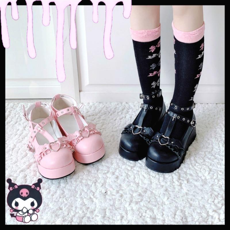 Devilian Little Bat Style Bowknot Demon Dark Goth Punk Platform Lolita Shoes Kawaii Shoes Loli Cosplay High Heel 5.5cm Pu Shoes