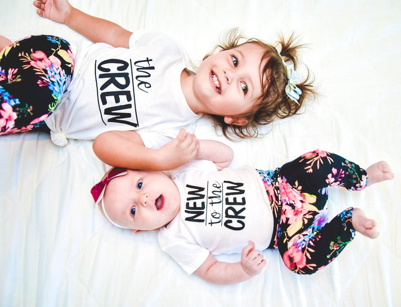 New To The Crew Sibling Short Sleeve Kids T-Shirts Baby Bodysuit Outfits Brother Sister Funny Matching Shirts Jumpsuit Clothes