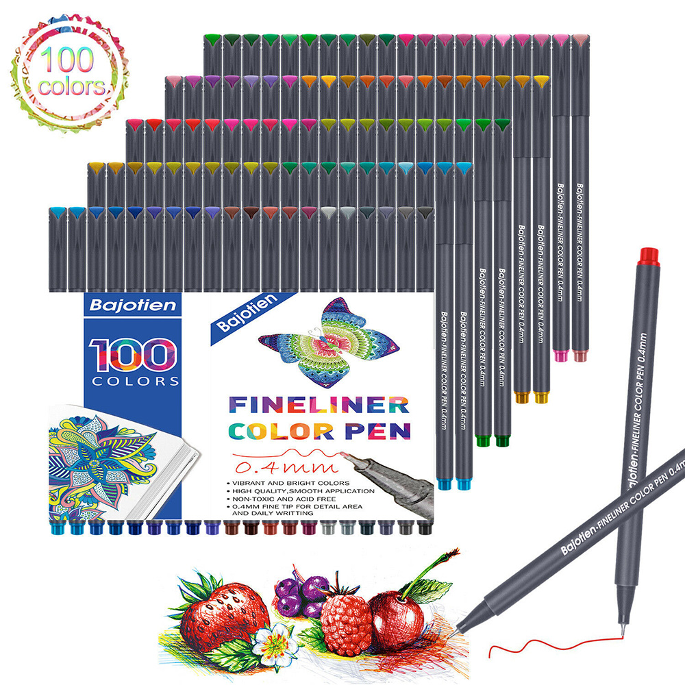 Fineliner Pen Set 12 24 36 48 60 100 Colors 0.4mm Micron Liner For Metallic Marker Draw Pen Color Sketch Marker Art Set School