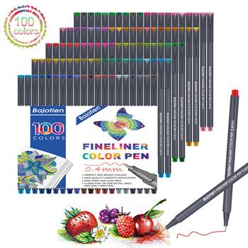 Zestaw długopisów Fineliner 12 24 36 48 60 100 kolorów 0 4mm wkładka Micron do metalicznego markera pióro do rysowania kolor szkic Marker zestaw artystyczny szkoła tanie i dobre opinie Bajotien Art marker Sketching-Pens Art-Marker Drawing-Painting pen Water-Based-Markers Needle-Tip Fineliner-Pen For Micron Ultra-Fine Gel-Pen