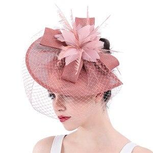 Image 2 - Yeni varış gelin düğün saç fascinators şapka peçe tüy çiçek saç klipleri kadın parti evli yarış şapkalar SYF31
