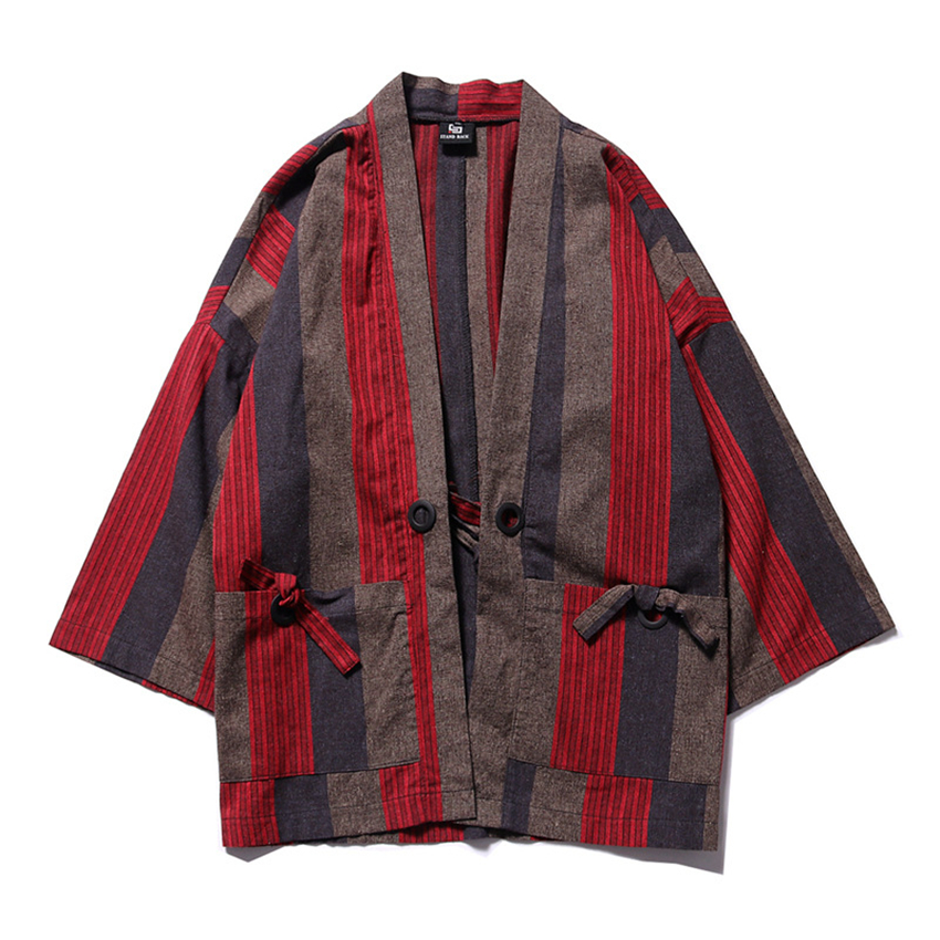 Japanese Traditional Kimono For Man Cotton Striped Retro Chinese Style Cardigan Summer Beach Wear Loose Haori Yukata