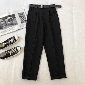 Neploe Black Suit Harem Pants Women 2020 Korean Sashes Pockets Office Ladies Pants Ankle Trousers High Waist Slim Solid Pantalon