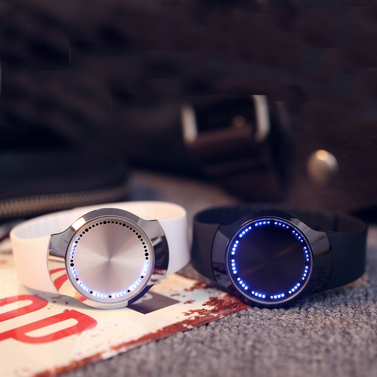 Blue LED Luminous Touch Screen Couple Watch Smart Electronics Casual Men Women Digital Watch Black Rubber Band LED Watch Ulzzang