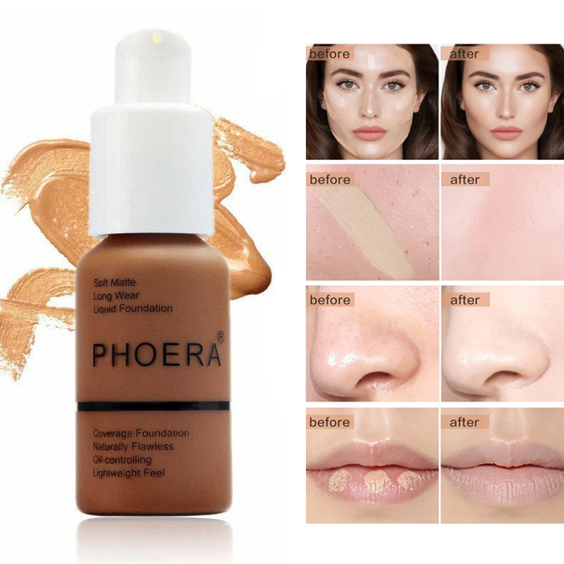 Phoera Matte Liquid Foundation Mineral Touch Whitening Concealer Makeup Coverage Cream Foundation TSLM1 image