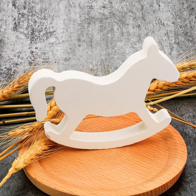Figurines & Miniatures White Wooden Rocking Horse Trojan Wedding Ornament Home Decor Crafts Kids Toys Drop shipping 2
