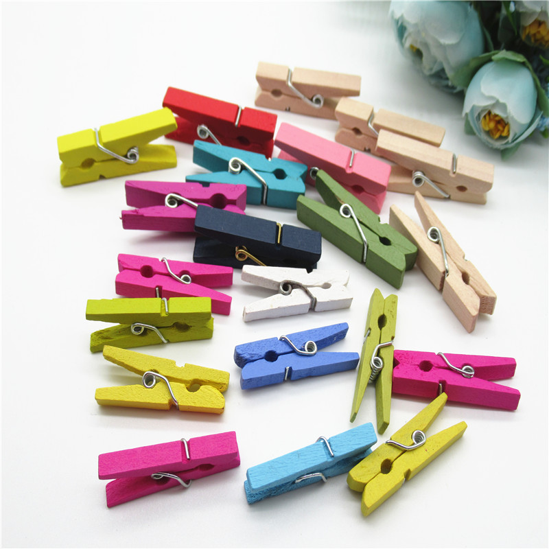 Wooden Craft Mini Clothes Pegs Coloured Card Wedding Photo Hanger Pack 25 NEW