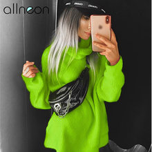 ALLNeon Fashion Women's Turtleneck Solid Long Sleeve Knitted Sweaters Plus Size Winter 2019 Ladies Neon Turtleneck Long Sweaters(China)
