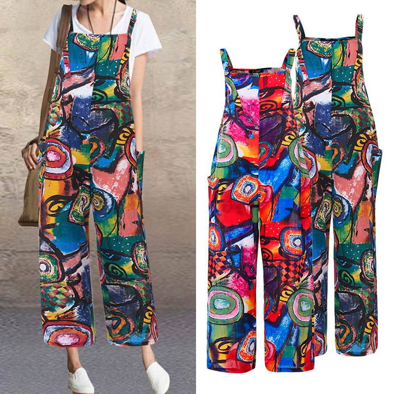 ZANZEA Summer Bohemian Floral Printed Jumpsuits Women Straps Rompers Overalls Pants Casual Sleeveless Playsuits Suspenders