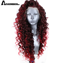 Anogol High Temperature Fiber Long Bouncy Spiral Curls Dark Burgundy Red Blend into Bright Red  Synthetic Lace Front Wig