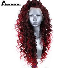 Anogol, fibra de alta temperatura, rizos largos en espiral animosos, Borgoña oscuro, rojo, mezcla en rojo brillante, peluca sintética con malla frontal
