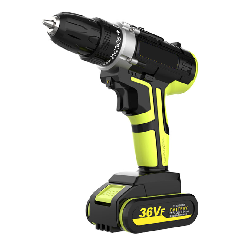 2 Batteries Brushless Cordless Electric Drill Screwdriver  LED 25-speed Torque Double Speed Waterproof Power Tools