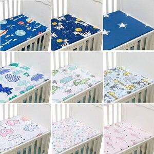 Bebê recém-nascido berço equipado folha capa de colchão de cama do bebê macio respirável impressão dos desenhos animados recém-nascidos para berço tamanho 130*70cm