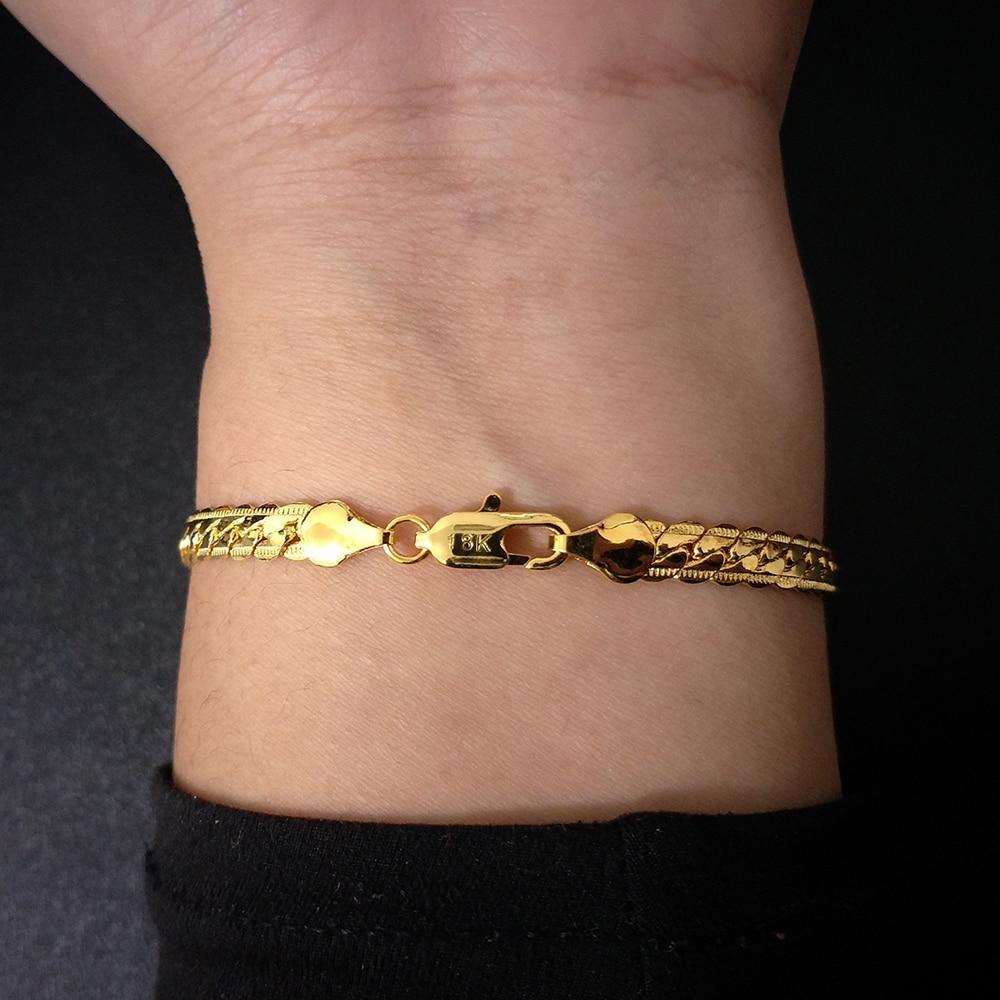 Gold Silver Color Chain Bracelet Men Women Fashion Jewelry Gift Hand Link Bracelet Curb wrist bracelet For Mens Birthday Present
