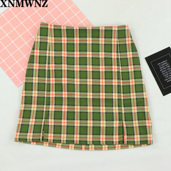 Women Split Details Plaid Mini Skirt with Under Shorts Mini Skort In Check XNWMNZ ZA 2020 zip front check plaid shorts