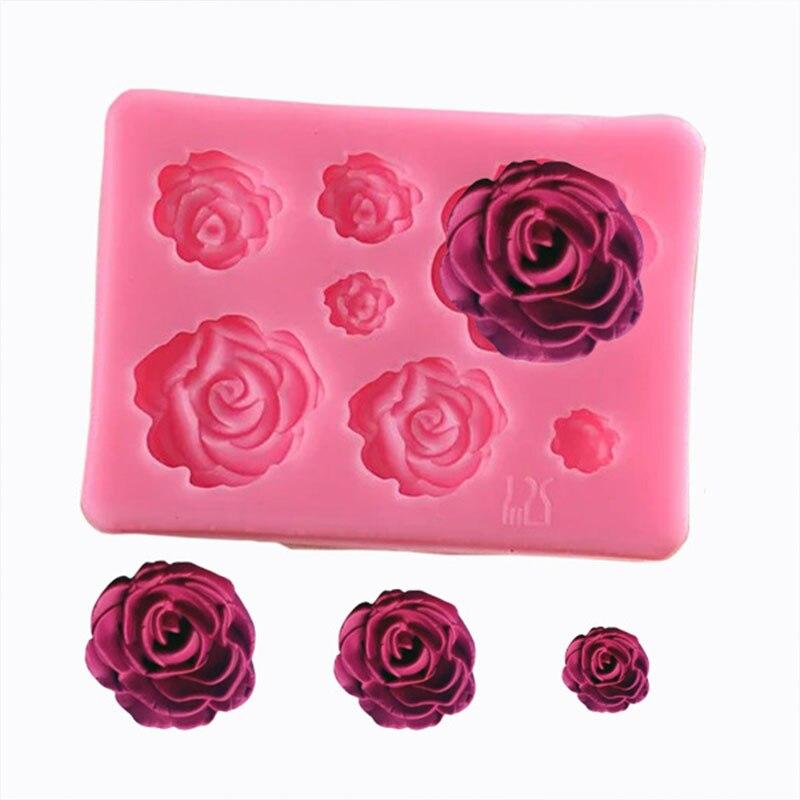 7 شبكة الورود الزهور قالب من السيليكون قالب الكعكة الشوكولاته كعكة الزفاف تزيين أدوات قالب الكعكة فندان