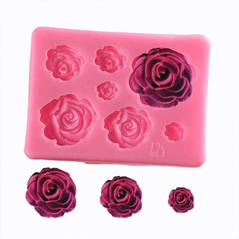 7 Grid Rose Flowers Silicone Mold Cake Chocolate Mold Wedding Cake Decorating Tools Fondant Cake Mold
