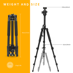 Image 5 - SHOOT Professional Portable Travel Camera Tripod Aluminum Alloy 4 Sections Tripod Stand for Canon Nikon SLR DSLR Digital Camera