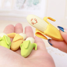 Banana Pencil Eraser Creative Cute Rubber Novelty For Kids Creative Cartoon Funny Fruit Office Stationery School Supplies Sets(China)