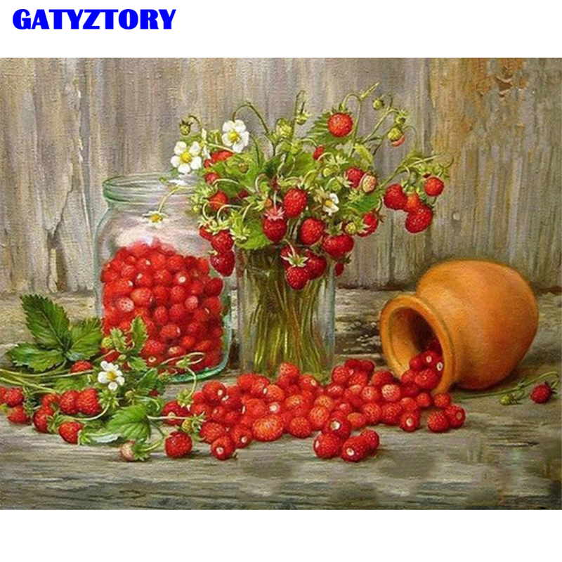 GATYZTORY Frame Fruits Strawberry DIY Digital Painting By Numbers Kits Hand Painted Modern Wall Art Canvas Painting For Artwork