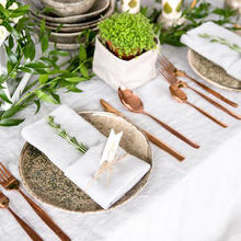 Guardanapos brancos do jantar da tabela do guardanapo da tela do algodão de 12 pces para a festa de casamento
