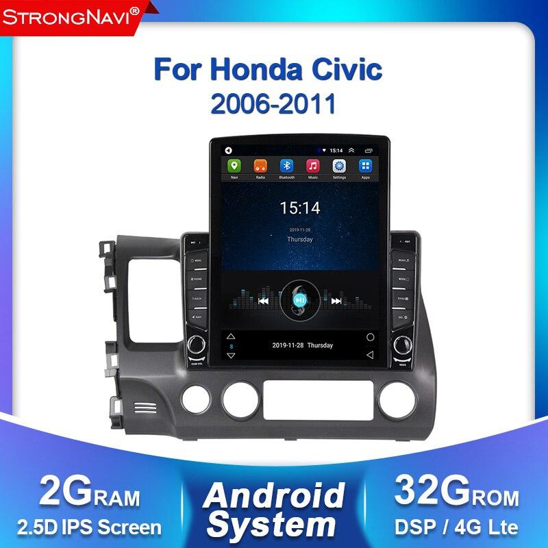 Tesla Screen IPS DSP Android Car GPS Navigation Radio Multimedia Player For 2006 2007 2008 2009 2010 2011 Honda Civic WIFI BT
