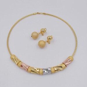 Image 3 - Hoge Kwaliteit Ltaly 750 Goud kleur Sieraden Voor Vrouwen afrikaanse kralen jewlery mode ketting set oorbel sieraden