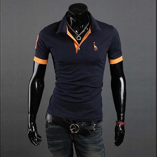 Erkek giyim 2019 katı renk geyik nakış POLO GÖMLEK giyim iş rahat erkek kısa kollu ince polo gömlekler boyutu 5XL