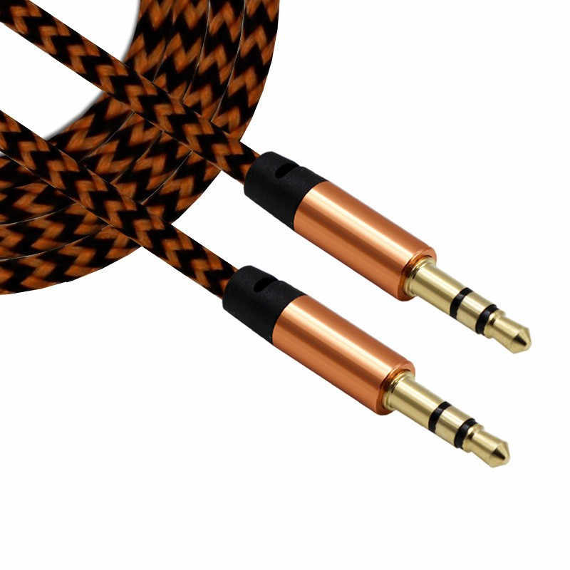 3.5mm Audio nylonowy kabel warkocz 3.5 Jack z męskiego na męskie kabel samochodowy aux do telefonu MP3 MP4 słuchawki bije głośnik losowy kolor