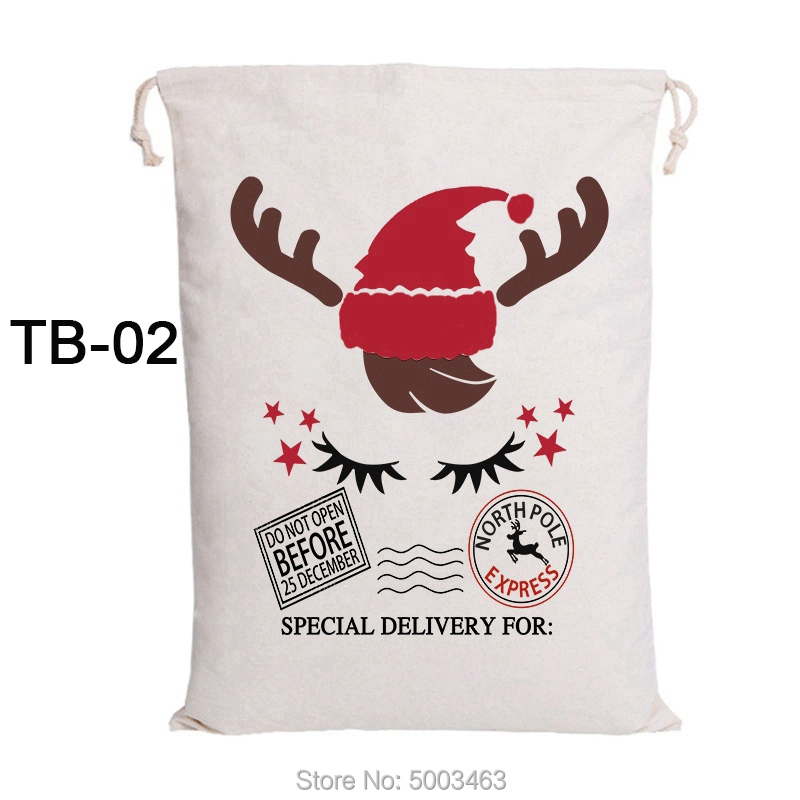 20pcs/lot Christmas Eve Sacks Drawstring Canvas Candy Bag Large Santa Claus Bags Personalized Home Decoration Kids Toy Bag