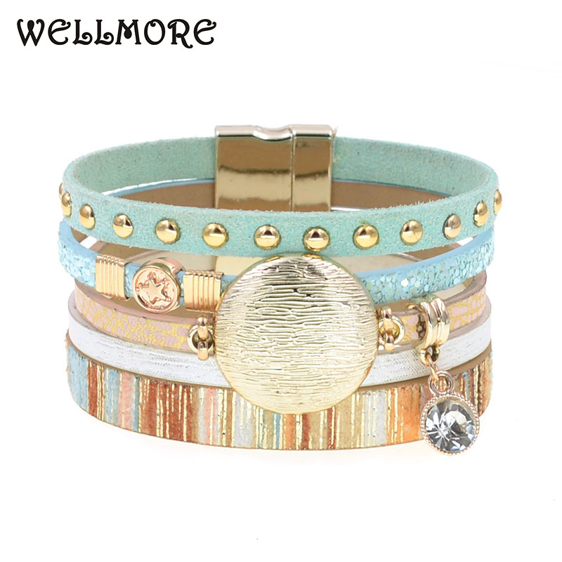 WELLMORE NEW model leather bracelets for women Zinc alloy metal charm bracelet fashion jewelry drop shipping wholesale