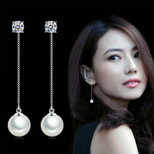 Elegant Silver Color Simulated Pearl Pendant Long Chain Cubic Earrings Bridal Wedding Fashion Jewelry Drop