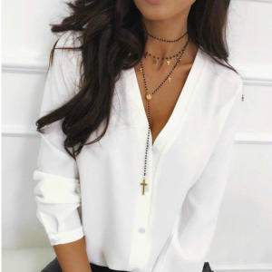 Elegant Tops Work-Shirts Loose Blouse Long-Sleeve OL Sexy V-Neck Women Autumn Casual