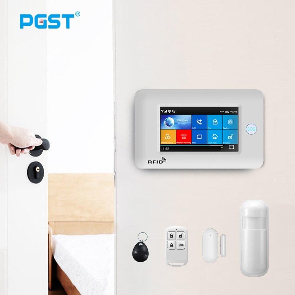 PGST PG106 Wireless Home WiFi GSM Alarm System Security Burglar Alarm with Siren Smoke Detector Sensor APP Control