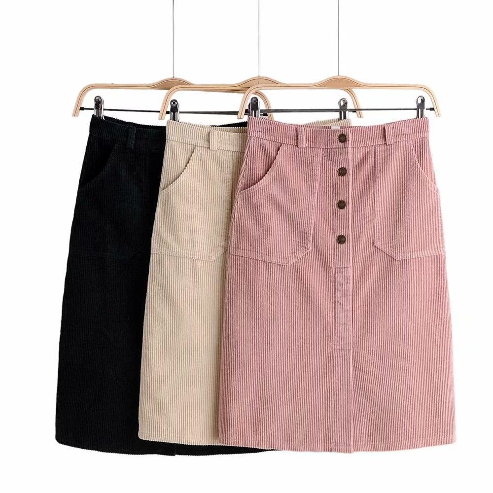 Zar-8221 Korean-style WOMEN'S Wear 2019 Autumn & Winter New Style High-waisted Si Li Kou Corduroy Skirt