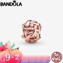 925 стерлингового серебра и розового золота Цвет ажурные тканые