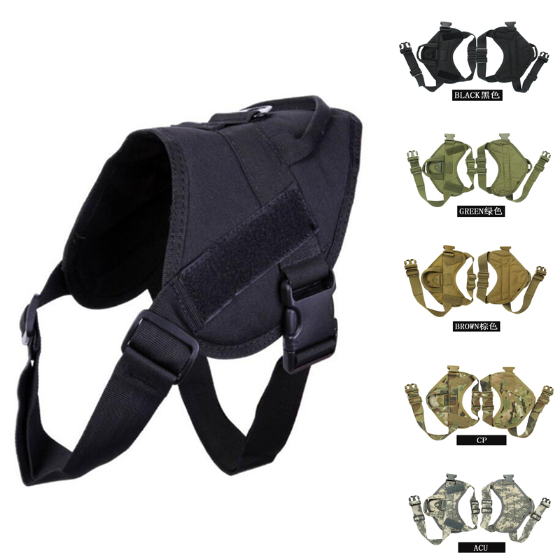 Military Molle Service Dog Vest Waterproof Hunting Training Tactical Dog Harness With Loading Handle Nylon Dog Clothes