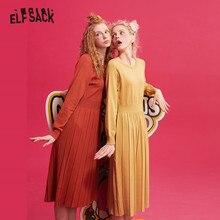 ELFSACK Multicolor ถัก Pullover เสื้อกันหนาวผู้หญิง 2019 ฤดูหนาว PURE พับไหล่แขนหลวมหญิงชุด