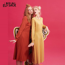 ELFSACK Multicolor Solid Knitted Pullover Sweater Dress Women 2019 Winter Pure Fold Drop Shoulder Sleeve Loose Female  Dresses