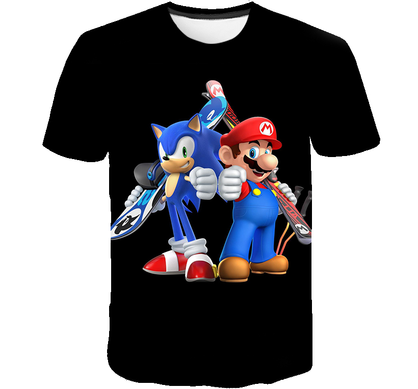 Boys Clothes 3D Cartoon Sonic The Hedgehog Game Print T-shirts Costume Boys T Shirt Girls Summer Kids Clothes T-shirt Children