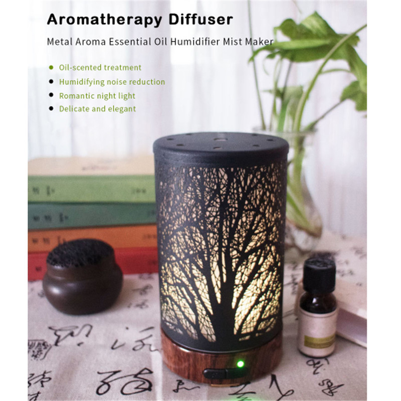 FIMEI Ultrasonic Air Humidifier Aroma Essential Mist Maker Oil Diffuser Aromatherapy Diffuser Metal For Home With LED Night Lamp