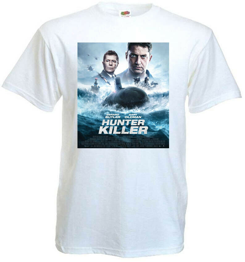Hunter Killer v4 T-shirt white movie poster G.Oldman J.Butler all sizes S...5XL