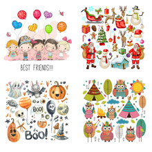 Set Of Animal Flower Appliques Heat Transfer New Design Clothing Deco Washable Diy Accessory Badges Iron-On Transfers Gift