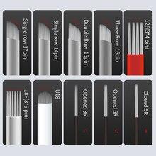 100pcs/lot Microblading Tebori Blades Needles Tattoo needles Permanent Makeup Needle 1R 3R 7 U19 12 18 Manual Eyebrow Blades